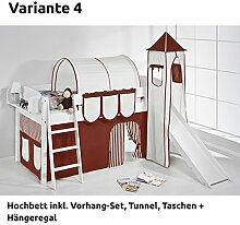 Hochbett Spielbett IDA Braun Beige, mit Turm, Rutsche und Vorhang, weiß, Variante 4