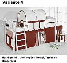 Hochbett Spielbett IDA Braun Beige, mit Vorhang, weiß, Variante 4