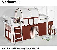 Hochbett Spielbett IDA Braun Beige, mit Vorhang, weiß, Variante 2