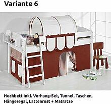Hochbett Spielbett IDA Braun Beige, mit Vorhang, weiß, Variante 6