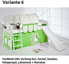Hochbett Spielbett IDA Grün Beige, mit Rutsche und Vorhang, weiß, Variante 6