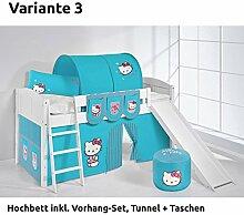 Hochbett Spielbett IDA Hello Kitty Türkis, mit Rutsche und Vorhang, weiß, Variante 3