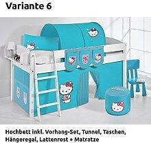 Hochbett Spielbett IDA Hello Kitty Türkis, mit Vorhang, weiß, Variante 6