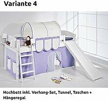 Hochbett Spielbett IDA Lila Beige, mit Rutsche und Vorhang, weiß, Variante 4
