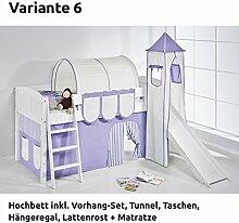 Hochbett Spielbett IDA Lila Beige, mit Turm, Rutsche und Vorhang, weiß, Variante 6