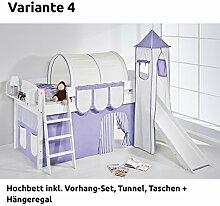 Hochbett Spielbett IDA Lila Beige, mit Turm, Rutsche und Vorhang, weiß, Variante 4