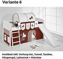Hochbett Spielbett IDA Pferde Braun Beige, mit Rutsche und Vorhang, weiß, Variante 6