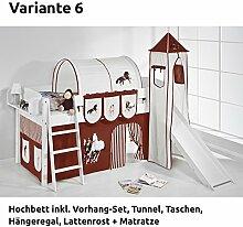 Hochbett Spielbett IDA Pferde Braun Beige, mit Turm, Rutsche und Vorhang, weiß, Variante 6