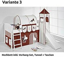 Hochbett Spielbett IDA Pferde Braun Beige, mit Turm, Rutsche und Vorhang, weiß, Variante 3