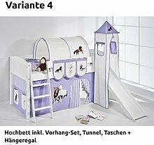 Hochbett Spielbett IDA Pferde Lila Beige, mit Turm, Rutsche und Vorhang, weiß, Variante 4