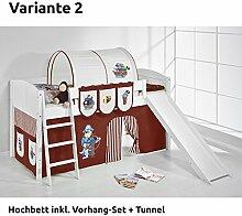 Hochbett Spielbett IDA Pirat Braun Beige, mit Rutsche und Vorhang, weiß, Variante 2