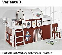 Hochbett Spielbett IDA Pirat Braun Beige, mit Vorhang, weiß, Variante 3