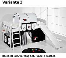 Hochbett Spielbett IDA Pirat Schwarz Weiß, mit Rutsche und Vorhang, weiß, Variante 3