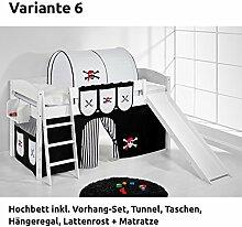 Hochbett Spielbett IDA Pirat Schwarz Weiß, mit Rutsche und Vorhang, weiß, Variante 6