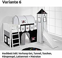 Hochbett Spielbett IDA Pirat Schwarz Weiß, mit Turm, Rutsche und Vorhang, weiß, Variante 6