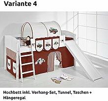 Hochbett Spielbett IDA Trecker Braun Beige, mit Rutsche und Vorhang, weiß, Variante 4