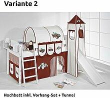 Hochbett Spielbett IDA Trecker Braun Beige, mit Turm, Rutsche und Vorhang, weiß, Variante 2