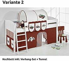 Hochbett Spielbett IDA Trecker Braun Beige, mit Vorhang, weiß, Variante 2