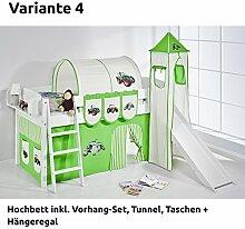 Hochbett Spielbett IDA Trecker Grün Beige, mit Turm, Rutsche und Vorhang, weiß, Variante 4