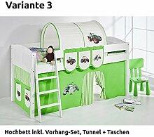 Hochbett Spielbett IDA Trecker Grün Beige, mit Vorhang, weiß, Variante 3