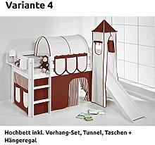 Hochbett Spielbett JELLE Braun Beige mit Turm, Rutsche und Vorhang, weiß, Variante 4