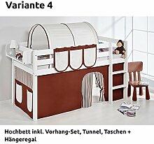 Hochbett Spielbett JELLE Braun Beige mit Vorhang, weiß, Variante 4