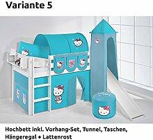 Hochbett Spielbett JELLE Hello Kitty Türkis mit Turm, Rutsche und Vorhang, weiß, Variante 5