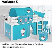 Hochbett Spielbett JELLE Hello Kitty Türkis mit Vorhang, weiß, Variante 5