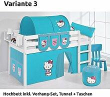 Hochbett Spielbett JELLE Hello Kitty Türkis mit Vorhang, weiß, Variante 3