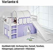 Hochbett Spielbett JELLE Lila Beige mit Rutsche und Vorhang, weiß, Variante 6
