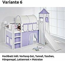 Hochbett Spielbett JELLE Lila Beige mit Turm, Rutsche und Vorhang, weiß, Variante 6