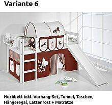 Hochbett Spielbett JELLE Pferde Braun Beige mit Rutsche und Vorhang, weiß, Variante 6