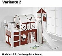 Hochbett Spielbett JELLE Pferde Braun Beige mit Turm, Rutsche und Vorhang, weiß, Variante 2