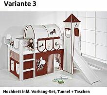 Hochbett Spielbett JELLE Pferde Braun Beige mit Turm, Rutsche und Vorhang, weiß, Variante 3