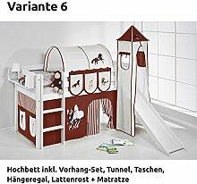 Hochbett Spielbett JELLE Pferde Braun Beige mit Turm, Rutsche und Vorhang, weiß, Variante 6