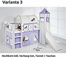 Hochbett Spielbett JELLE Pferde Lila Beige mit Turm, Rutsche und Vorhang, weiß, Variante 3