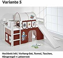Hochbett Spielbett JELLE Pirat Braun Beige mit Rutsche und Vorhang, weiß, Variante 5