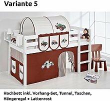 Hochbett Spielbett JELLE Trecker Braun Beige mit Vorhang, weiß, Variante 5