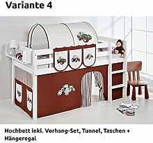 Hochbett Spielbett JELLE Trecker Braun Beige mit Vorhang, weiß, Variante 4
