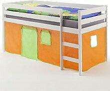Hochbett Spielbett Kinderbett ERIK, Kiefer massiv, weiß lackiert mit Vorhang in orange/grün
