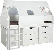 Hochbett Tipi, 90x200 cm, weiß