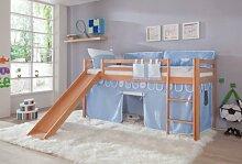 Hochbett TOBY Buche massiv natur, Rutsche & Textilset blau / boy