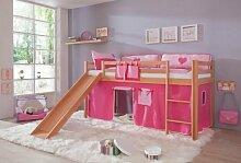 Hochbett TOBY Buche massiv natur, Rutsche & Textilset pink / rosa