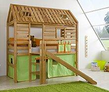 Hochbett Tom´s Hütte 1 Kinderbett Rutsche Spielbett Bett Natur Stoff Grün/Orange