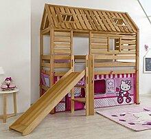 Hochbett Tom´s Hütte 1 Kinderbett Rutsche Spielbett Bett Natur Stoff Hello Kitty