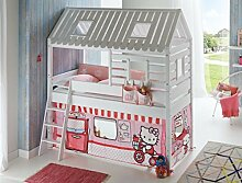 Hochbett Tom´s Hütte 2 Kinderbett Spielbett Bett Weiß Stoffset Hello Kitty