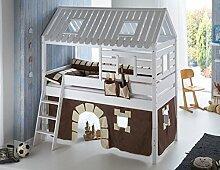 Hochbett Tom´s Hütte 2 Kinderbett Spielbett Bett Weiß Stoffset Burg