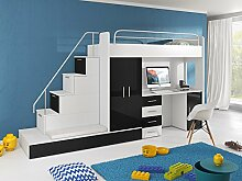 Hochbett TOMI - Schreibtisch, Schrank, Treppe und