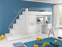 Hochbett TOMI - Schreibtisch, Schrank, Treppe und Gästebett mit Hochglanz-Fronten in weiß / schwarz / rosa / grau / lila / blau (weiss)