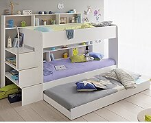 Hochbett weiß + Bettschubkasten + Lattenrostplatten + Regale + Leiterpodest Spielbett Kinderbett Kinderzimmer Doppelbett Stockbett Etagenbe